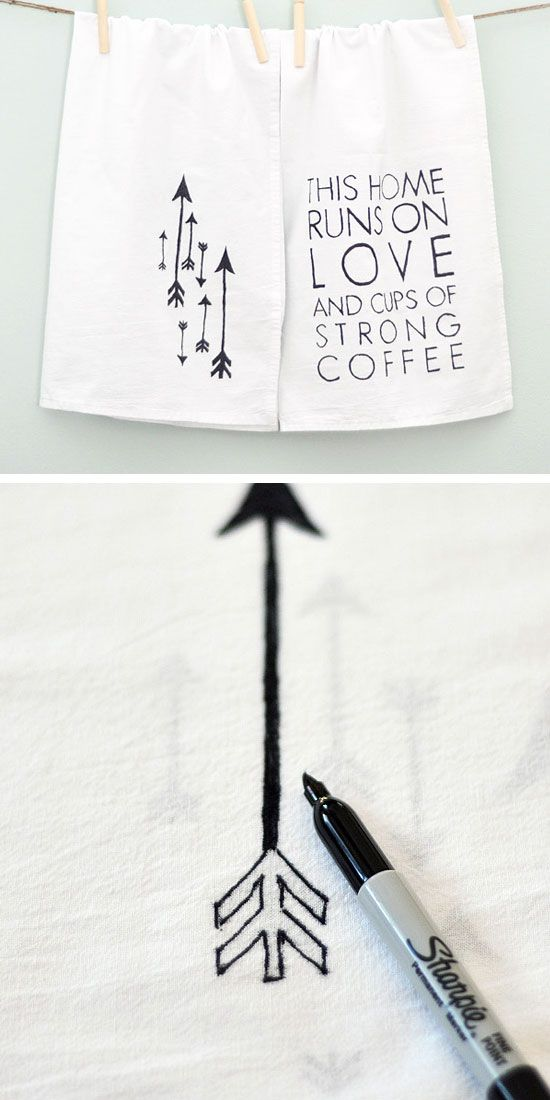 DIY Tea Towels | Click Pic for 28 DIY Kitchen Decorating Ideas on a Budget | DIY Home Decorating on a Budget