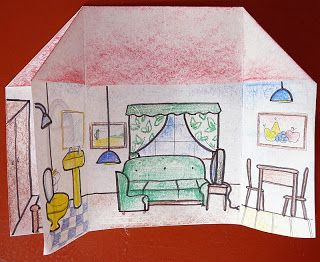 Here's an easy project for the students to practice the parts of the house.     1. Fold an A4 sheet in half.         2. Crease the center o...