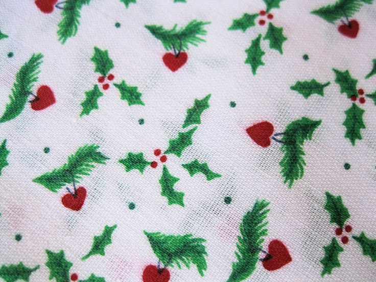"3 yds Vintage Christmas Fabric Polyester & Cotton Blend Holly and Hearts 45"" Wide by BrightEyesKreations on Etsy"