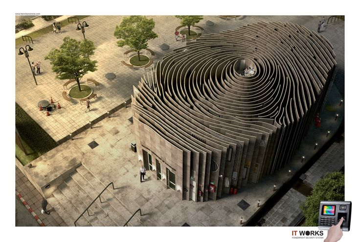 The Fingerprint Building | ArchitectWeekly - too bad it's not a real building. It's a marketing picture for fingerprint software. Cool idea though!