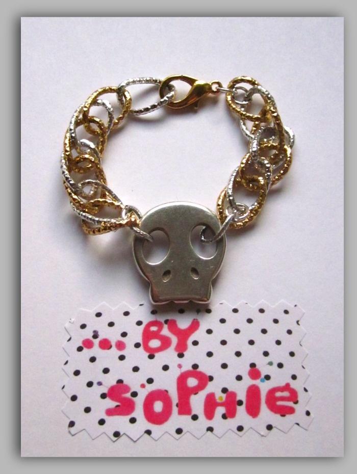 pulsera calavera plata en cadena doble