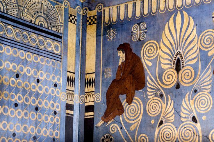 Fresque dans l'Ornithes. Villa Grecque Kérylos : Palais antique de la côte d'Azur, Beaulieu-sur-Mer © C. Recoura