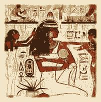 A lady, holding a mirror, sits as her hairdresser braids her hair, her body servant massaging a balm into her brown skin. The aloe vera potted plant near her foot, left, was called 'Hani Ankh', 'Plant of Immortality' by the ancient Egyptians. Above it, the Shenu  with king Tutankhamun's Throne name, Neb Kheperu Ra, and next to it, 'Di Ankh' meaning 'Given Life', part of the Royal epithet. In the upper register,  the aloe vera harvest. 18th dynasty, tomb of Rekhmire. Egypt.