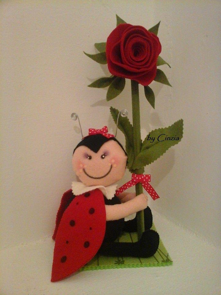 Romantica coccinella in pannolenci