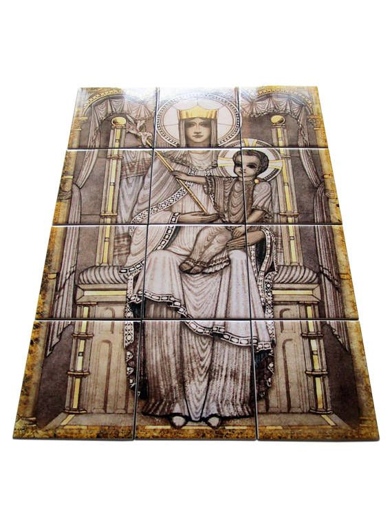 Our Lady of Walsingham tile mural / mosaic - now available in our Etsy Store: >>> https://www.etsy.com/listing/548984746 <<< The image was inspired by a wonderful opus sectile mosaic of Our Lady of Walsingham on the pulpit in Westminster Cathedral. Is composed by 12 ceramic tiles. Ready to hang. Suitable for indoor or outdoor use. 100% handmade in Italy by @TerryTiles2014 #ourladyofwalsingham #walsingham #virginmary #mothermary #avemaria #pray #prayforus #religious #anglican #england #faith…