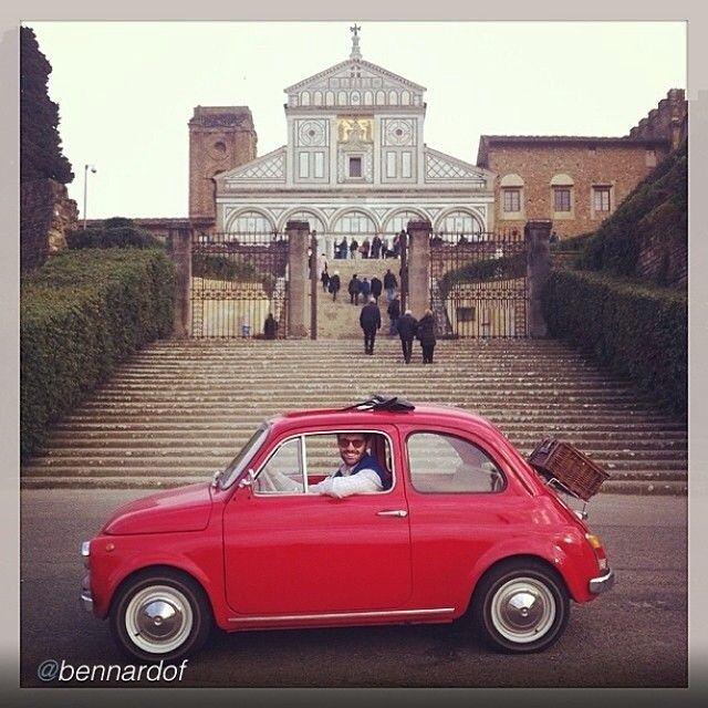 "tuscanygram: "" #photo credit @bennardof, thanks! Italian icons: #fiat500 and the Basilica of San Miniato al Monte. 