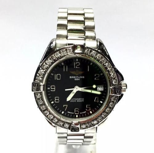 38.5mm BREITLING 1884 Stainless Steel Men's Watch w/ Diamonds, Water Res. 300m
