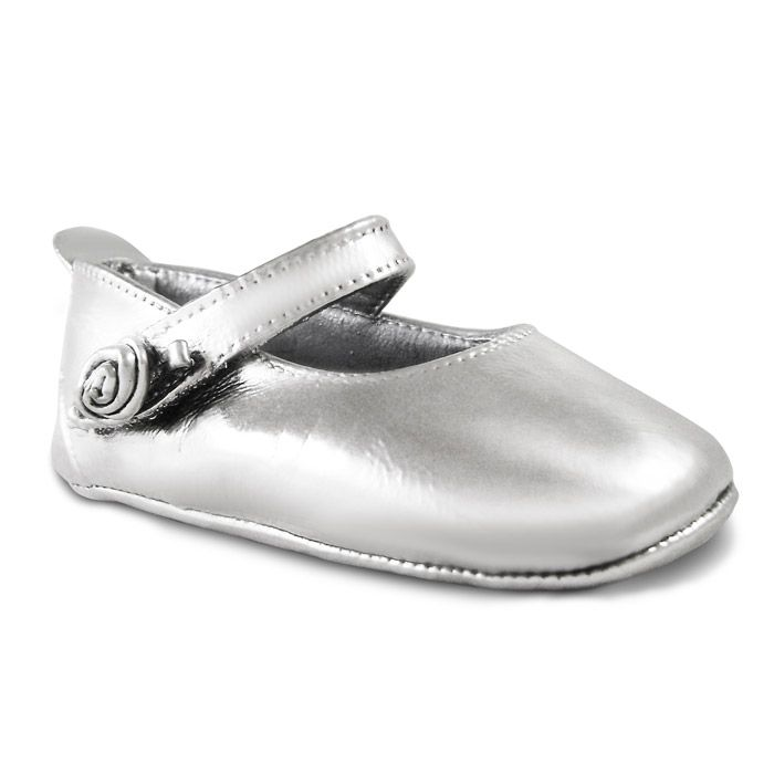 """Baby's shoe coated with 999° pure silver, with the name """"Myrto"""" in red letters. By Shine4ever.gr !"""