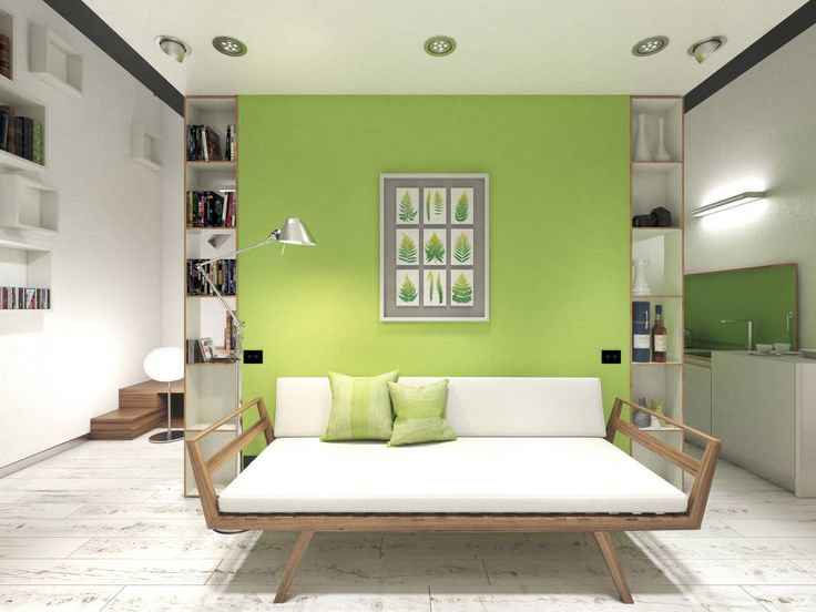 Cool modern living room with lime green feature wall and rustic style white wooden floors! Cool white, scandinavian style day bed couch. By 3d-arch