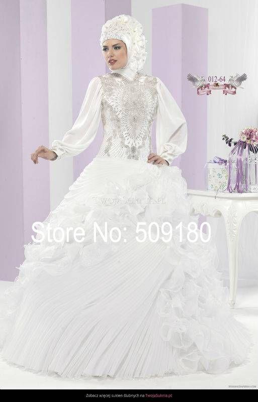 Арабский Свадебные Платья Элегантный Белый Атласная Высокая Шея Индивидуальные Свадебные Платья Дизайн Хрустальный Шарик PX71124 Мусульманин Свадебное Платье