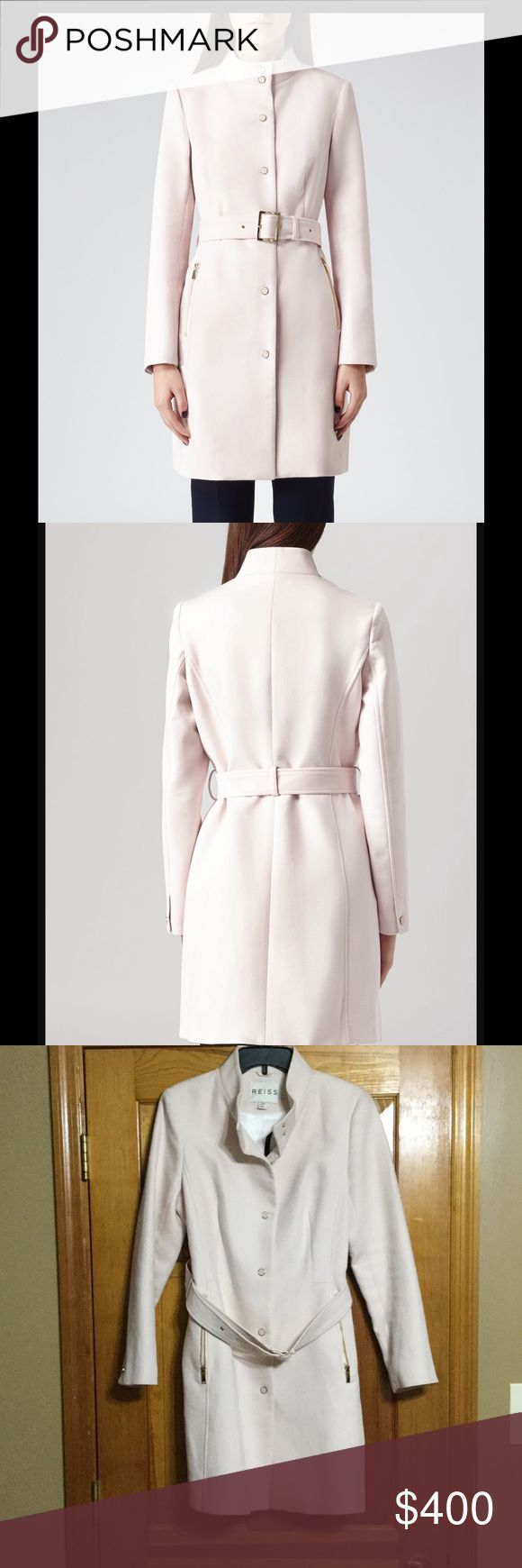 NWT Reiss Margo Trench Coat NWT Margo Trench Coat  Light Pink Color  Size L Beautiful coat. Needs to be dry cleaned. Couple spots from storing I guess. Nothing you can see unless looking for them. Also has a few minor pulls. Could be trimmed and no big deal. Price reflected.  MAKE US AN OFFER!! Reiss Jackets & Coats