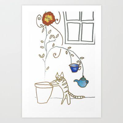 Cat in the Kitchen Art Print by Hayley Egan - $16.00