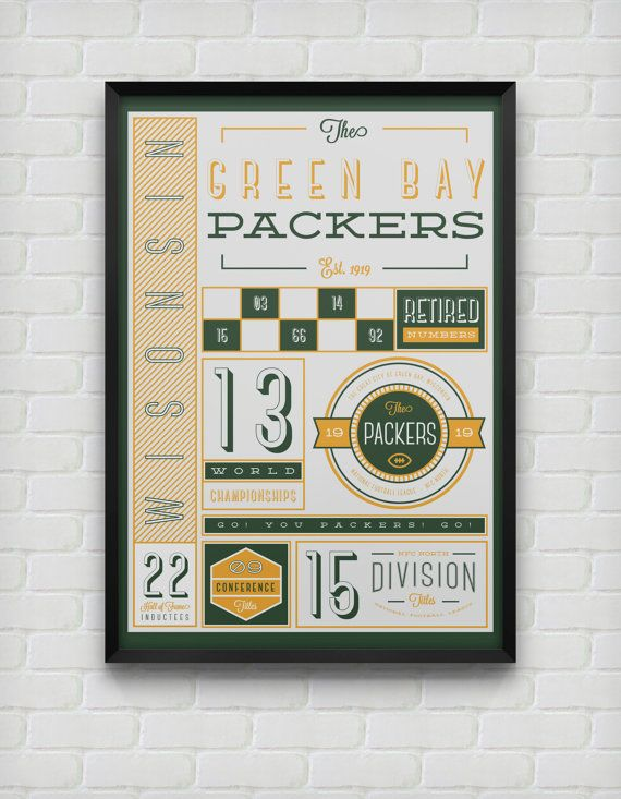 Green Bay Packers Stats Print by DesignsByEJB on Etsy, $18.00