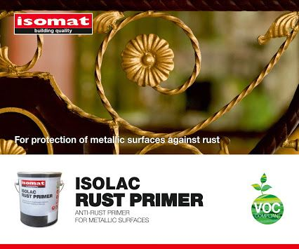 For effective protection of metal surfaces against #rust, use the new, anti-rust primer ISOLAC RUST PRIMER by #ISOMAT.  #ISOLAC RUST PRIMER offers high adhesion and is suitable for both indoor and outdoor use.  It is applied on new or old metal surfaces, such as doors, railings, machinery and tools and constitutes the ideal substrate for the enamel paint ISOLAC DUCO, especially used for metal surfaces.