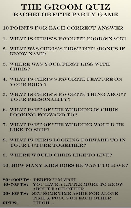 Groom quiz for bachelorette! Get answers from the groom beforehand to compare her responses. #bachelorette #bacheloretteparty #groom