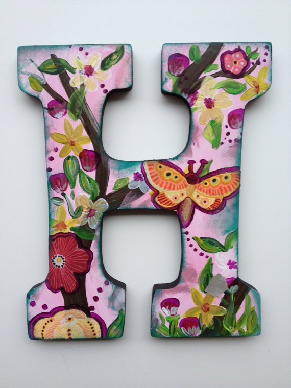 Custom hand painted wooden letters arts crafts for Small wooden letters for crafts