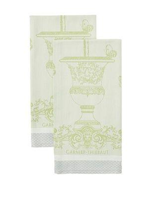 50% OFF Garnier-Thiebaut Set of 2 Butterfly Garden Kitchen Towels, Vert Opaline
