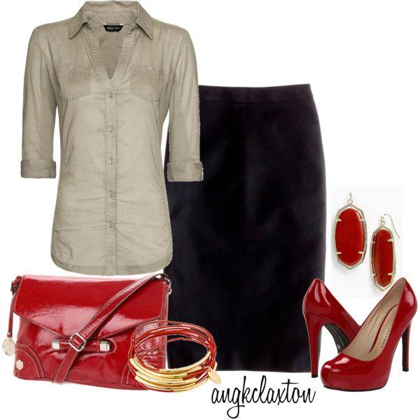 Vamped-Up Red: Fashion 911, Dreams Closet, Fashion Clothing, Fall Style, Denim Pencil Skirt, Black Pencil Skirts Casual, Angkclaxton, Black Skirts, Fashion Fancy