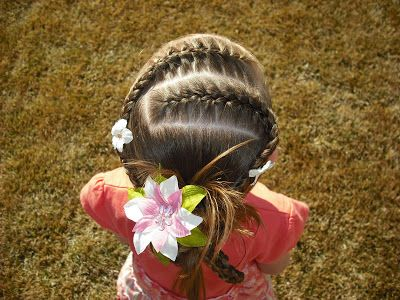 French Braids and a Messy Braid Bun from Princess Hairstyles