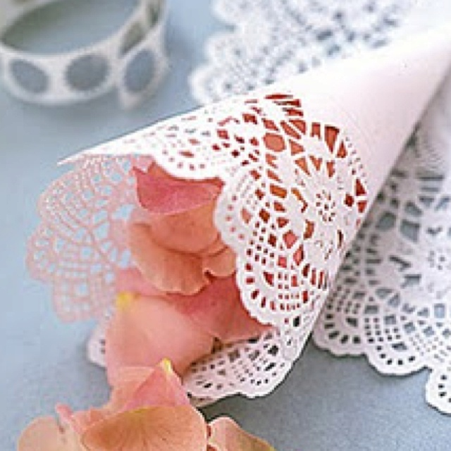 Doily cones- to throw rose petals after the ceremony.