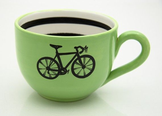 A warm cup of coffee after a morning ride.: Coffee Lovers, Cute Cups, Bike, Teas Cups, Memorial Lovers, Bicycles Coff, Cute Mugs, Limes Green, Coffee Mugs