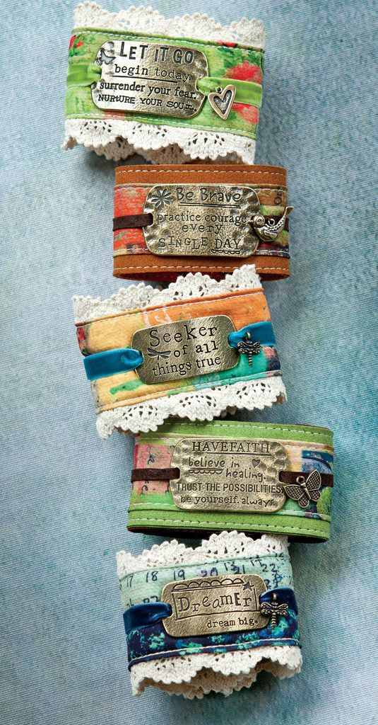 Lace Cuff Bracelets. I love these! More ideas for fabric bracelets!