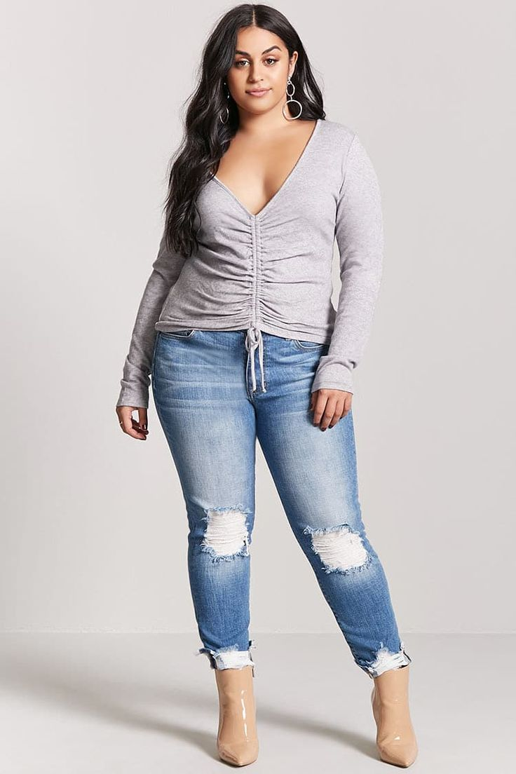 Forever 21+ - A brushed marled knit top featuring ruched drawstring construction, a plunging V-neckline, and long sleeves.