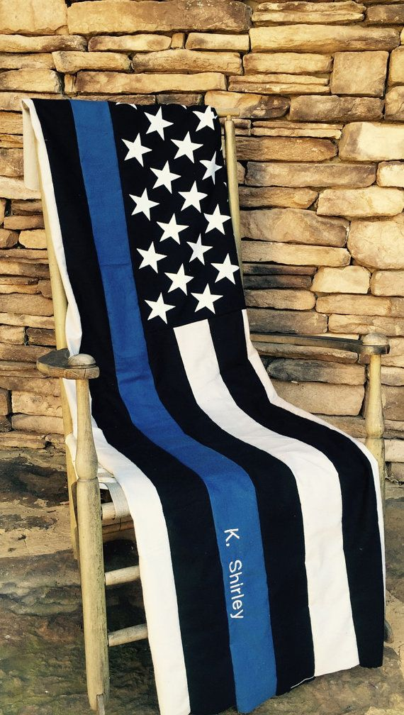 Thin Blue Line - American Flag Quilt - Police Officer - Thin Blue Line Quilt - Sheriff Quilt - Deputy Gift - State Patrol - Police Quilt LEO