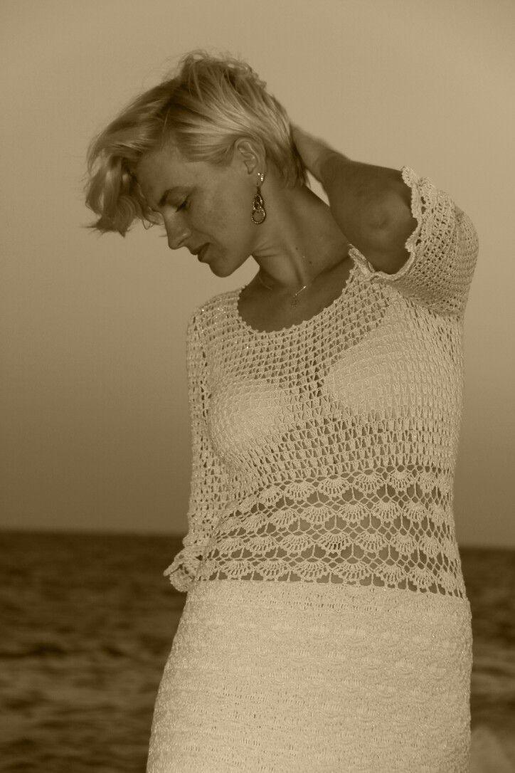 Sukienka  biała, ze srebrną nitką, ręcznie robiona, szydełkowa, crochet ❤️❤️❤️