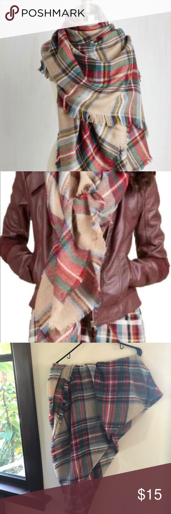 ModCloth plaid blanket scarf Perfect condition- never worn. So cute and versatile Modcloth Accessories Scarves & Wraps