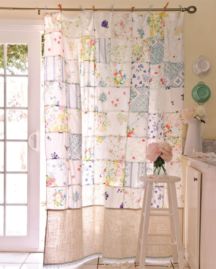 Ashlee Park created this stunning upcycled patchwork curtain from vintage tablecloths, featured in the Autumn 2015 Issue of Somerset Home!