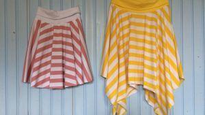 Samma mönster men två olika stil på kjolen du lätt syr själv.