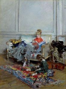 ジョヴァンニ・ボルディーニ 「かぎ針編みをする若い女」 1875