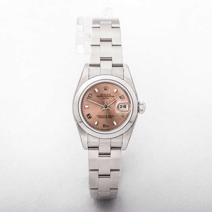 Ladies Rolex Small With Pink Dial on Stainless Steel Oyster Bracelet