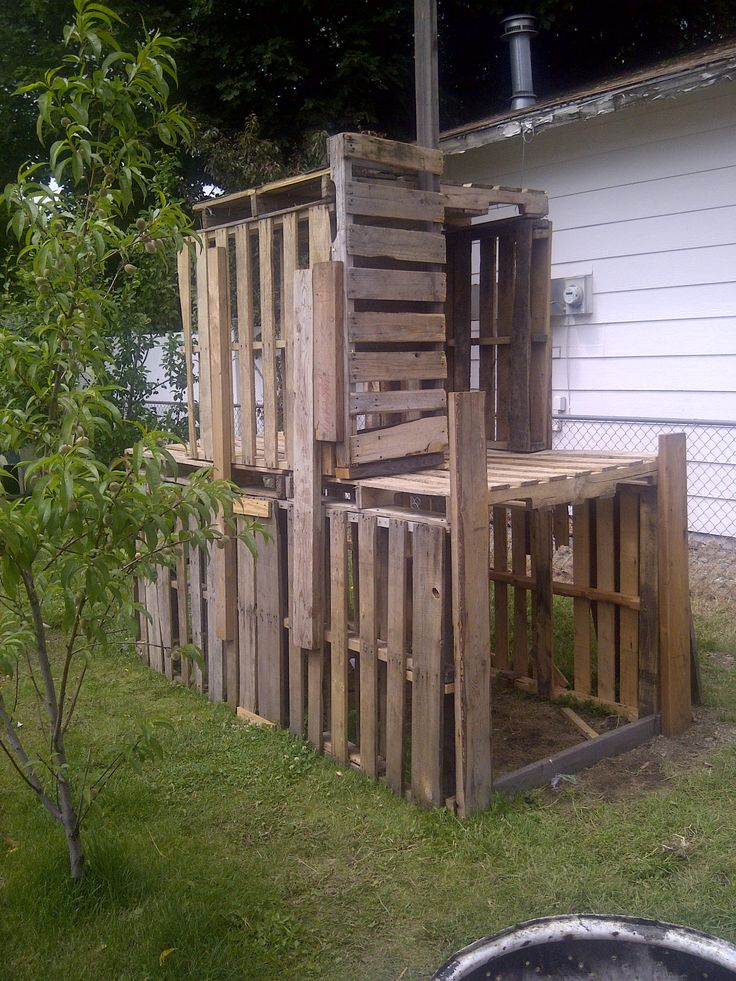 "We built this ""climbing wall"" fort for our five year old son, using old shipping pallets.     The bottom pallets are laid with the slats vertically to prevent littler people from climbing to the top.    Whole project took about 12 pallets and a matter of hours to assemble. Best part, other than nails (and some electricity), it was free!"