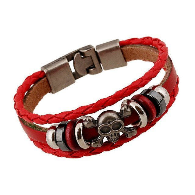 Red Leather Bracelet With Beads & Skull