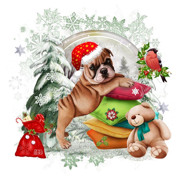новогодние собачки картинки для декупажа российский