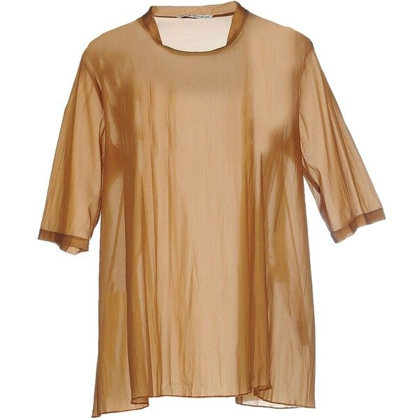Acne Studios Blouse ($295) ❤ liked on Polyvore featuring tops, blouses, camel, beige blouse, short sleeve silk top, short sleeve blouse, silk top and acne studios