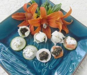 Flower and sliced vegie tapas