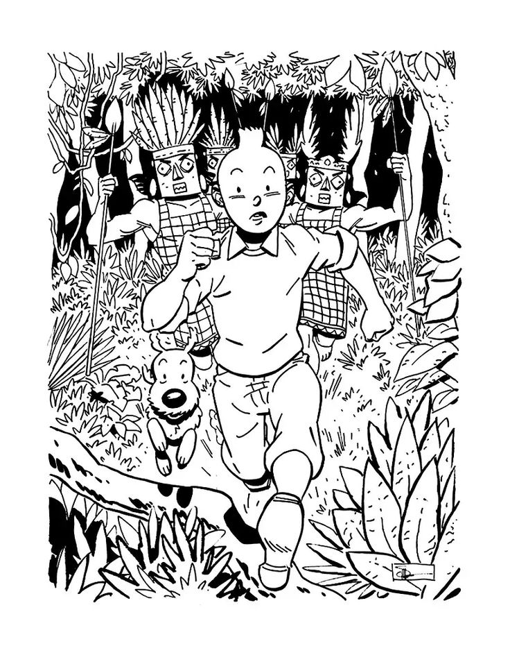 Free coloring page coloring-tintin-inspiration. Drawing to color inspired by…