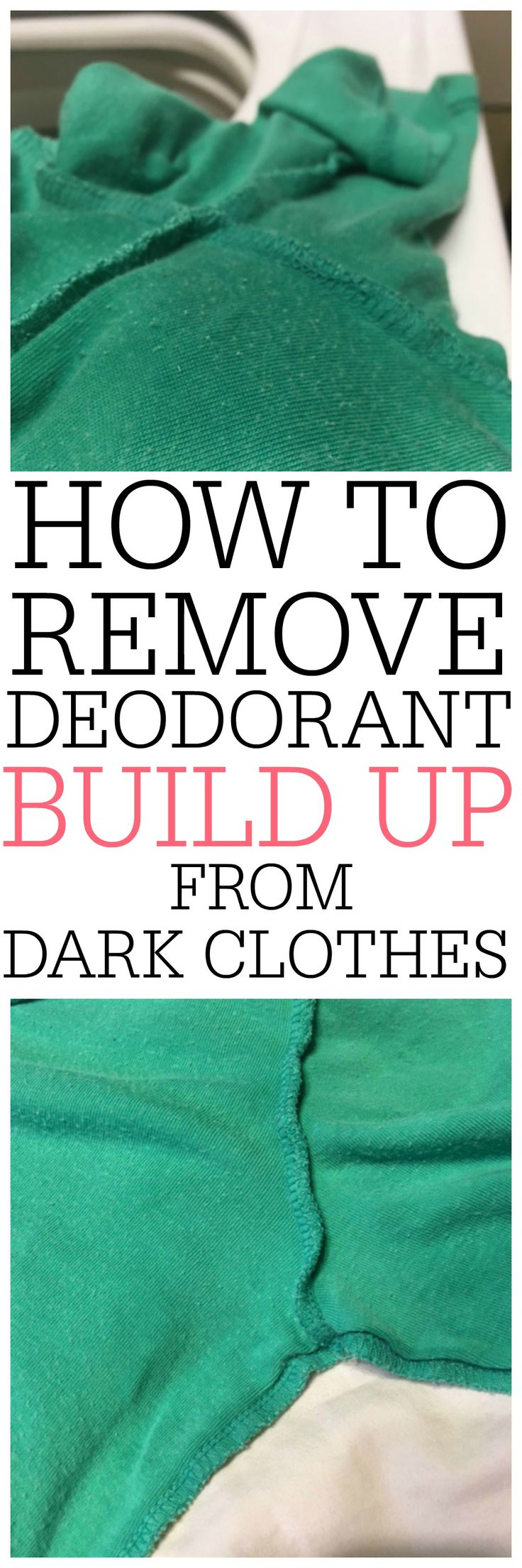 Tired of deodorant build up on your shirts? Check out how to remove deodorant build up from dark clothes. It's so easy to do!