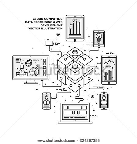 Flat Style, Thin Line Art Design. Set of application development, web site coding, information and mobile technologies, social network vector icons and elements. Modern concept vectors collection.