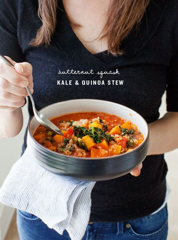 Butternut Squash, Kale and Quinoa Stew - Soup season continues! This has hearty butternut squash, quinoa & kale in a tomato broth. I also used cumin, coriander & smoked paprika