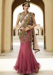 Bridal Wear Pink Net Heavy Embroidery Work Lehenga Choli