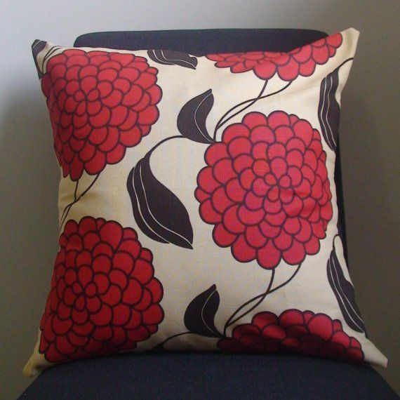 New 18x18 inch Designer Handmade Pillow Case with red, and brown flowers.. $25.00, via Etsy.