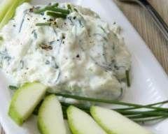 Concombres au fromage blanc et ciboulette