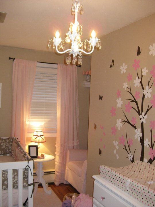 I M Loving The Chandelier And The Light Pink Curtains In This Room