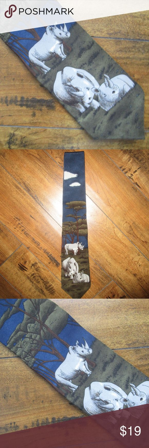 WWF Black Rhinoceros tie WWF Black Rhinoceros tie gorgeous print of 3 happy hippos living peacefully in their habitat WWF Accessories Ties