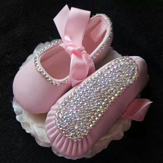 Precious, rhinestone ballet baby slippers~❥  No instructions; but, how difficult could it be...rhinestones, glue and ribbons.