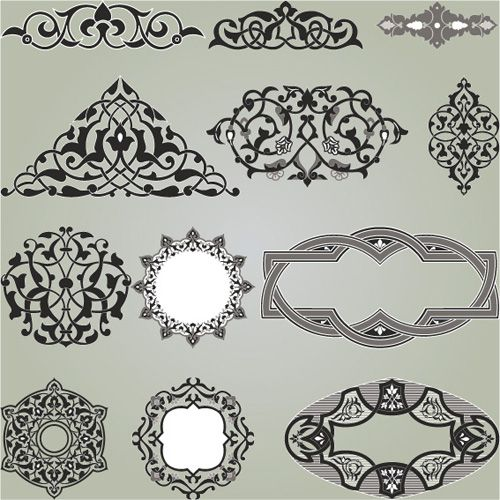 Vintage Calligraphic border frame and ornament vector set 17